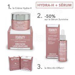 1 Crème Hydra-H E761 Feminity -50% sur le Sérum Survivine E764 Feminity Ericson Laboratoire