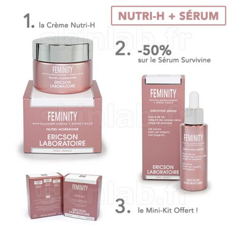 1 Crème Nutri-H E762 Feminity -50% sur le Sérum Survivine E764 Feminity Ericson Laboratoire