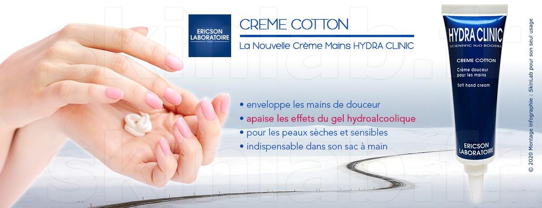 CREME COTTON, la Nouvelle Crème Mains Hydra Clinic qui protège vos mains !